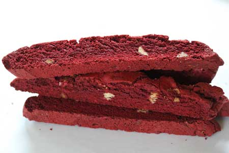 Red Velvet Biscotti via Cookie Madness