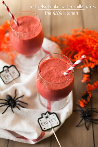 Red Velvet Cake Batter Milkshakes via The Little Kitchen