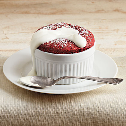 Red Velvet Souffles with Whipped Sour Cream via MyRecipes.com