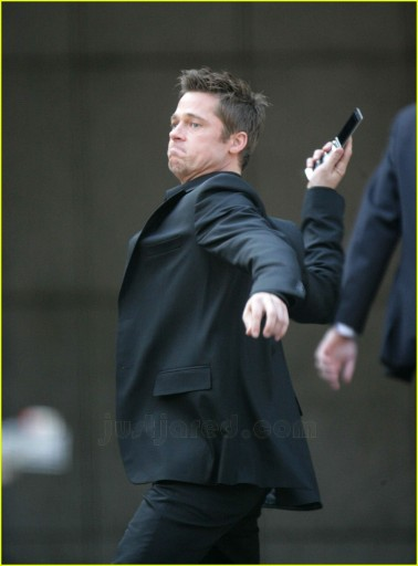 Mr. Pitt was probably called onto set on his day off. Image via JustJared.