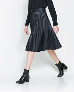 Coated pleated skirt, $79.90