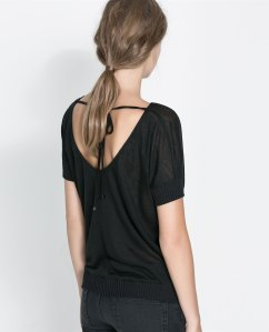 Draped wool with open back tee, $35.90
