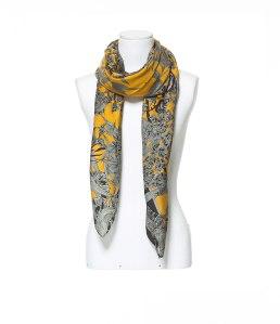 Leaf print neck scarf, $59.90